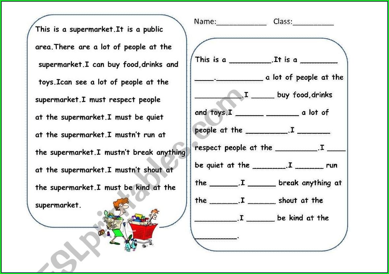 Writing Worksheet For Esl