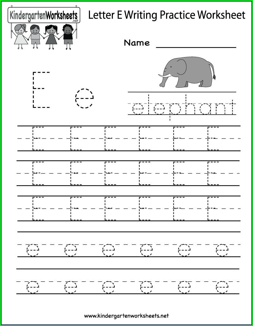 Writing Worksheet For Kindergarten English