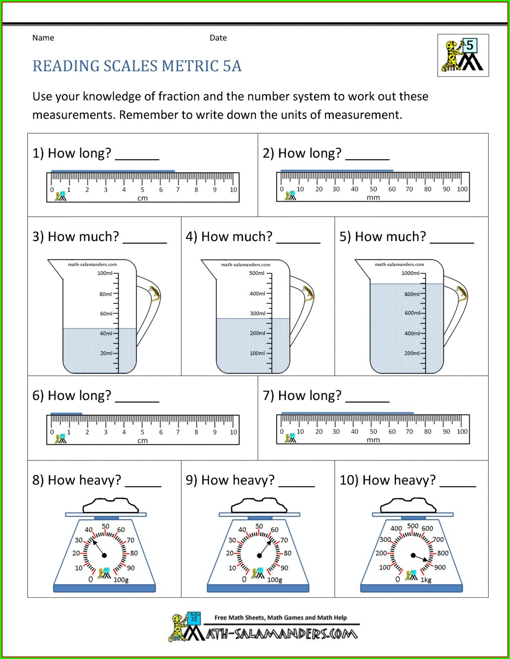 Year 2 Reading Weighing Scales Worksheet