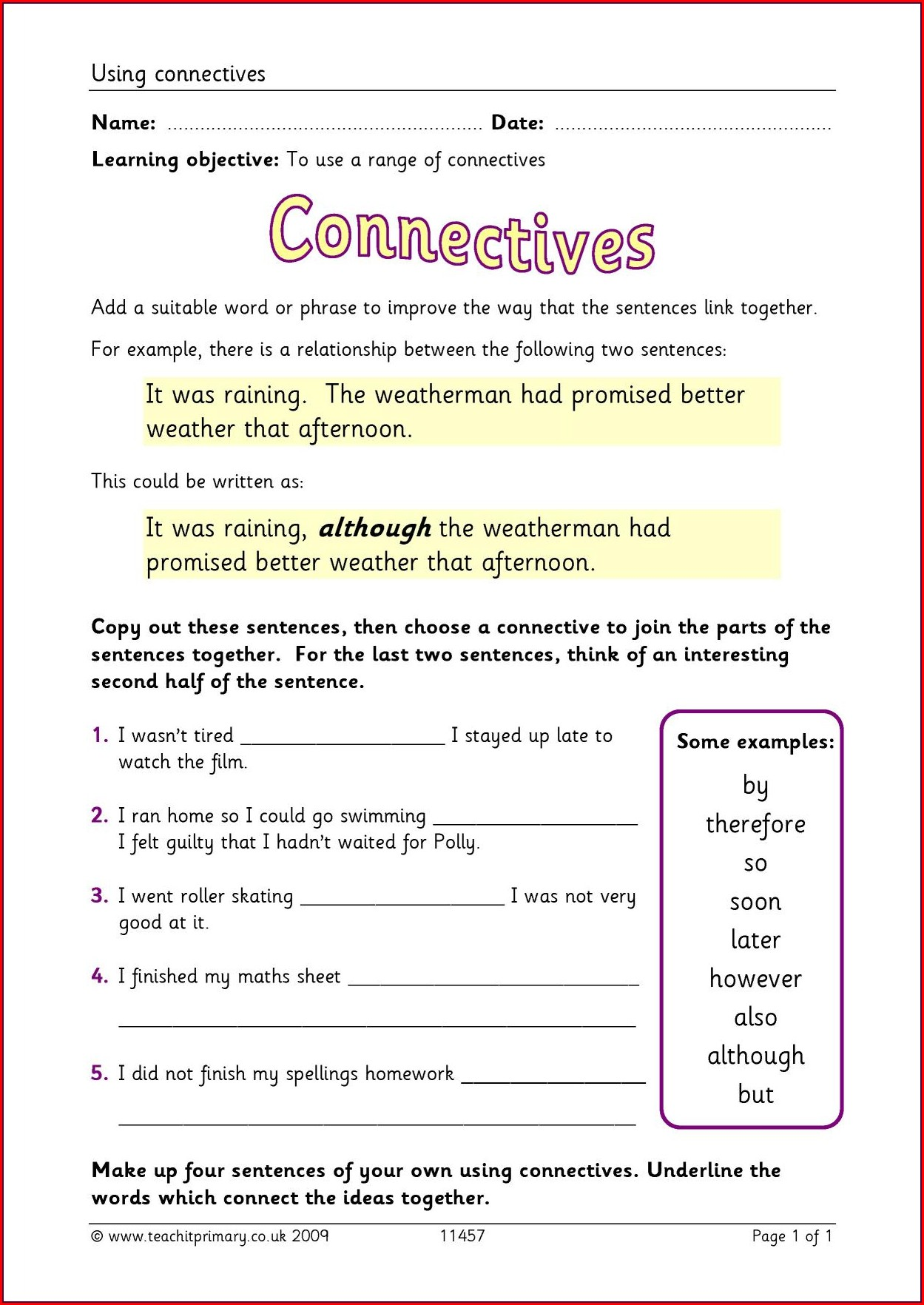 Year 4 Time Connectives Worksheet