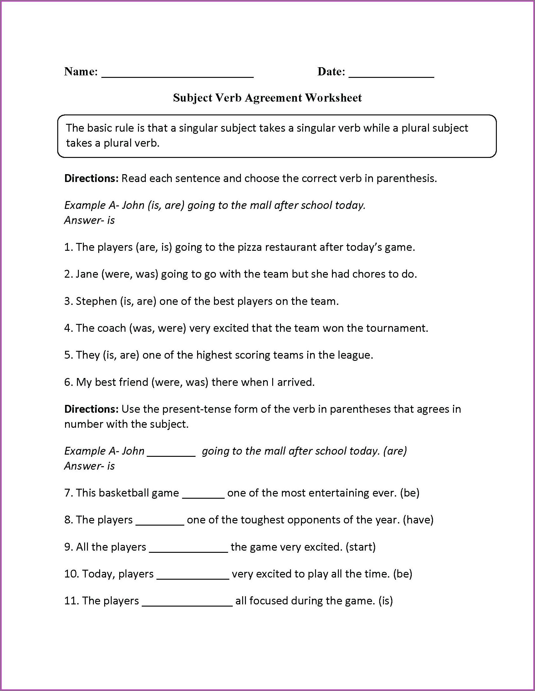 Year 6 English Worksheet Grammar