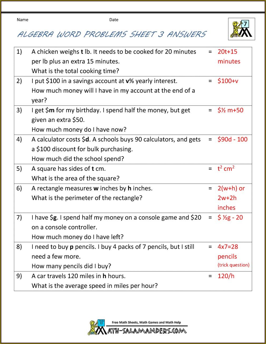 Year 6 Maths Word Problems Worksheets Pdf