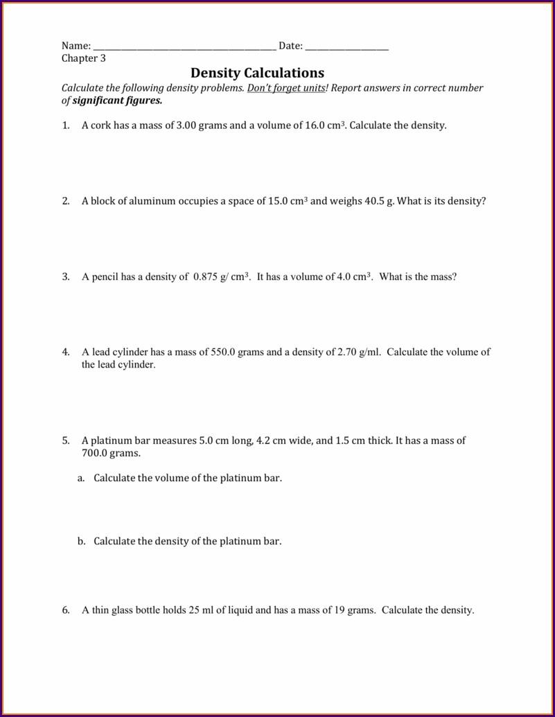 Year 7 Density Worksheet