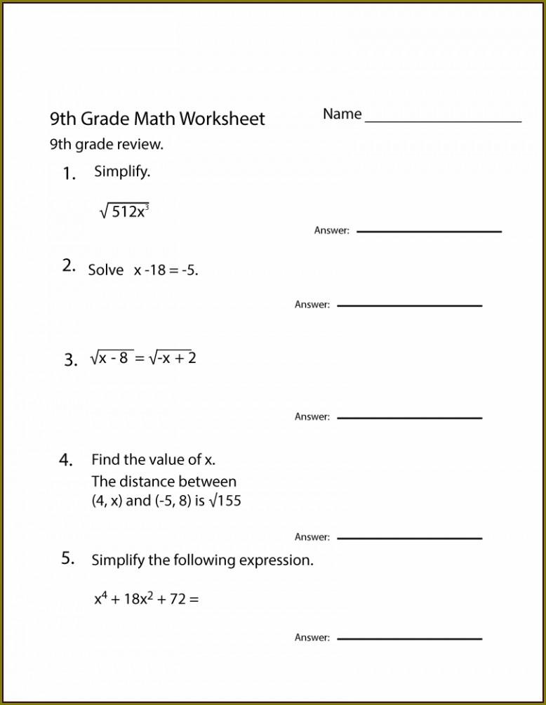 Year 9 Math Worksheet For Grade 9