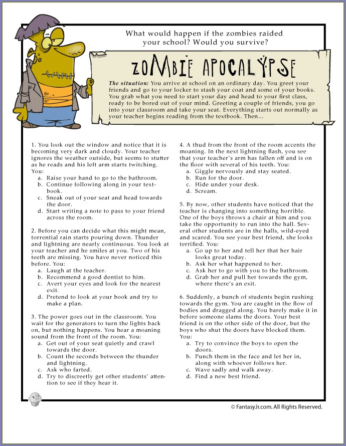 Zombie Attack Math Worksheet Answer Key
