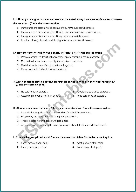 11th Grade English Grammar Worksheets