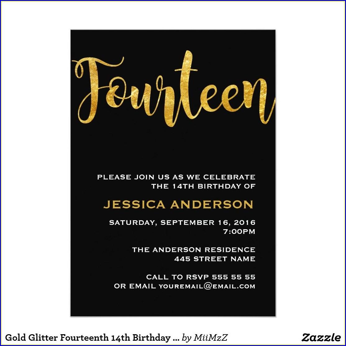 14th Birthday Invitation Templates