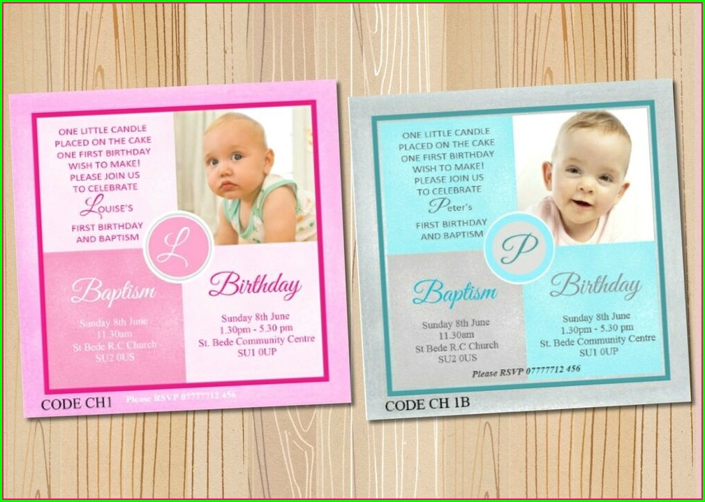 1st Birthday And Baptism Combined Invitations