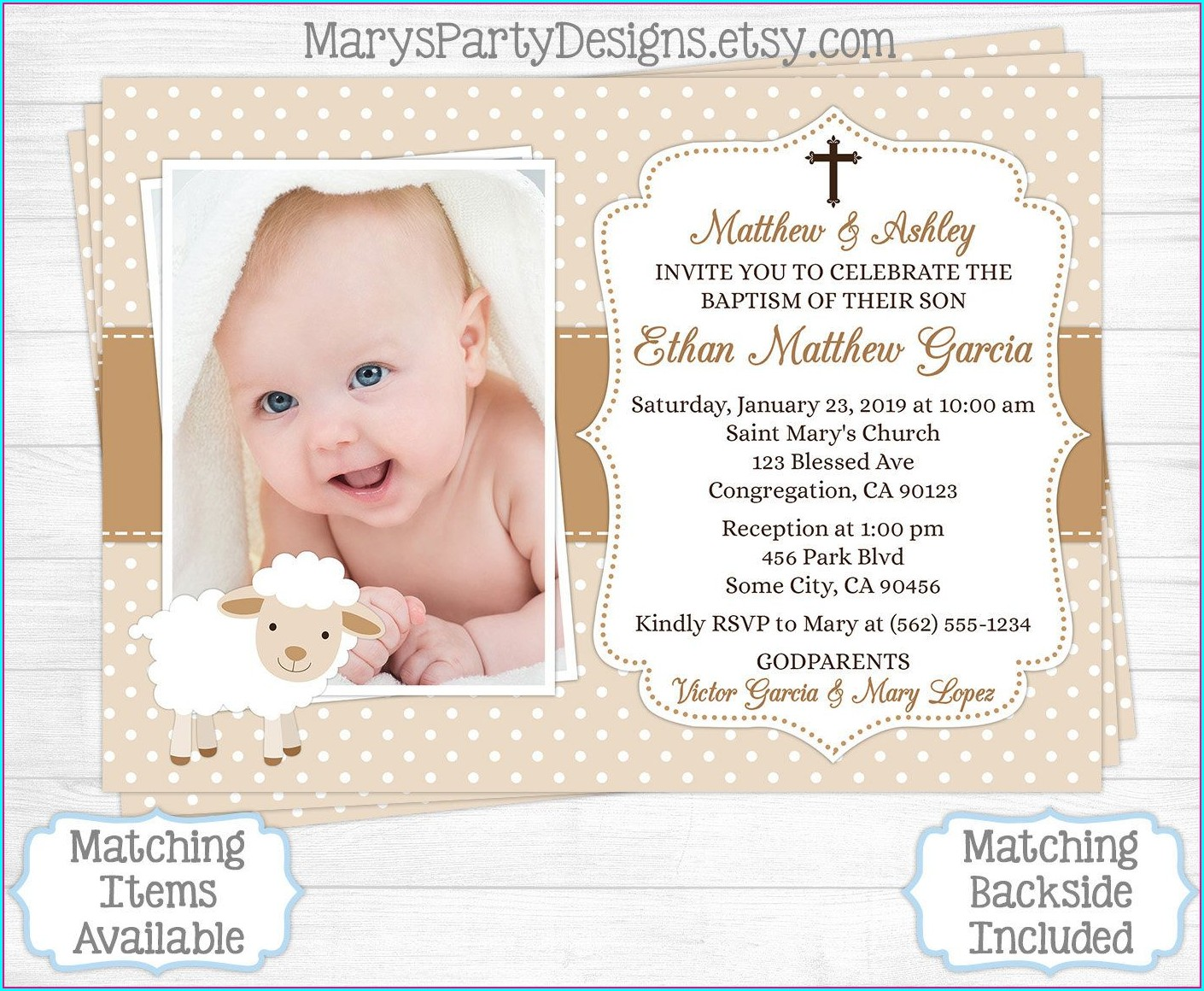 1st Birthday And Christening Invitation For Baby Boy