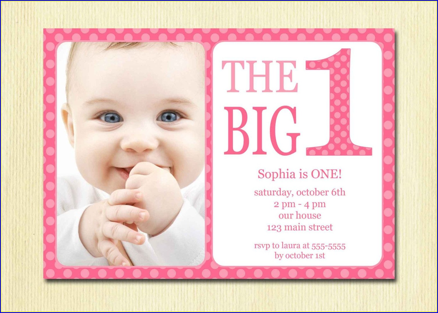 1st Birthday Baby Girl Birthday Invitation