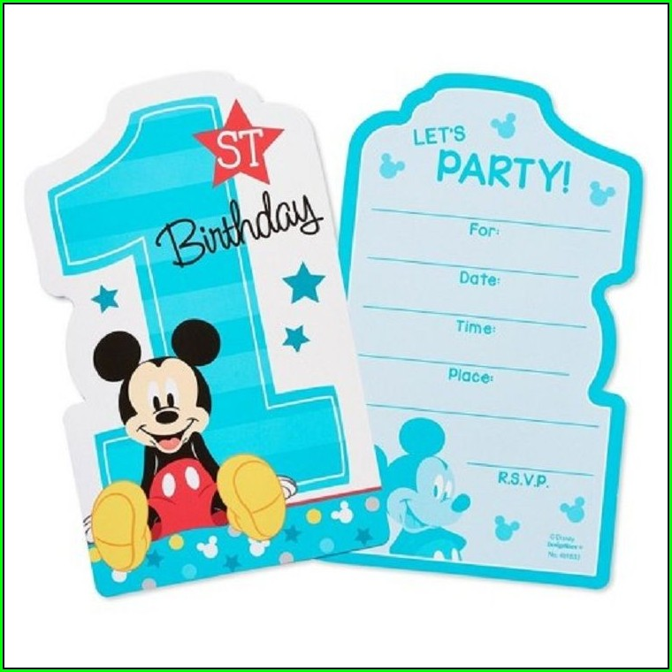 1st Birthday Blank 1st Birthday Mickey Mouse Invitations