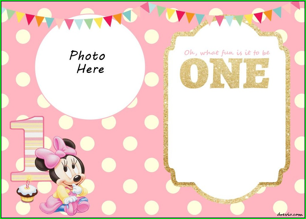 1st Birthday Editable Minnie Mouse Invitation Template