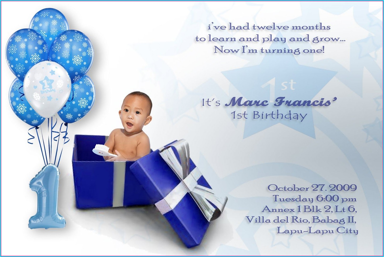 1st Birthday Invitation Card Boy