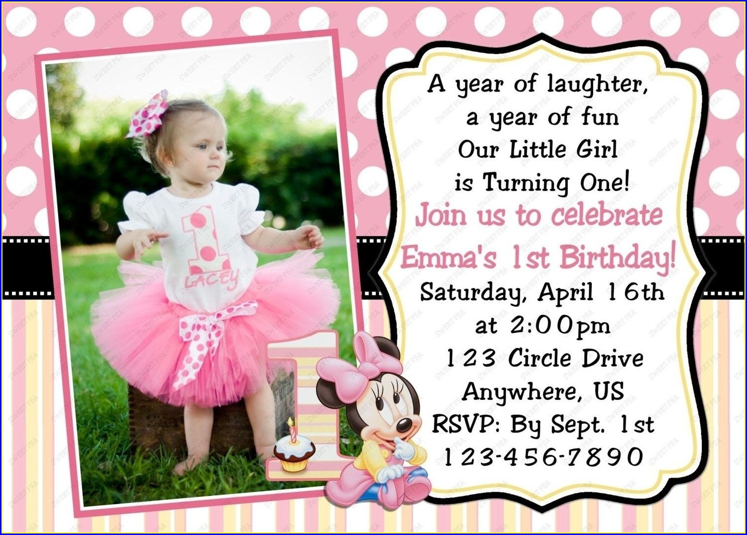 1st Birthday Invitation Card Design For Baby Girl