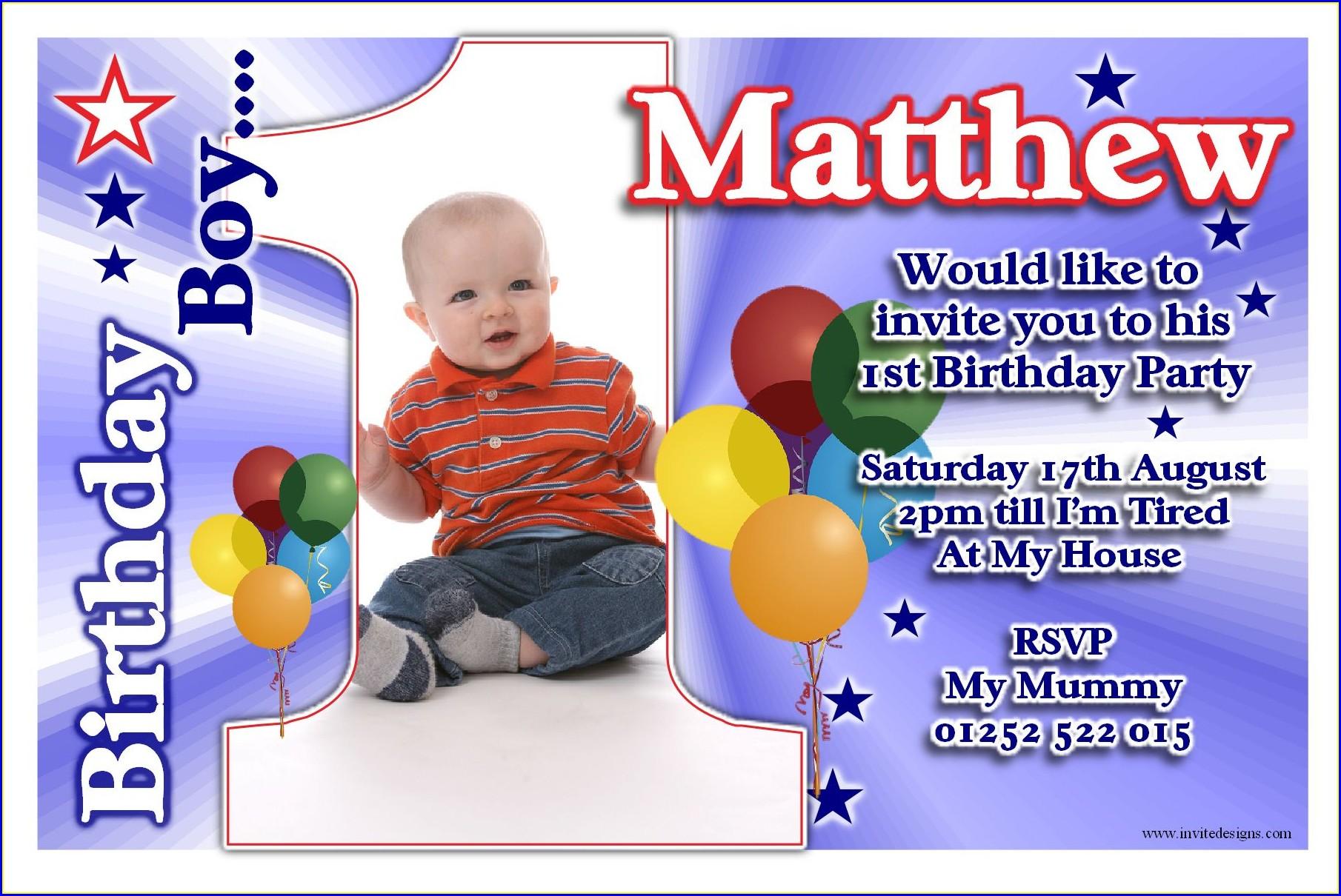 1st Birthday Invitation Card Design For Boy