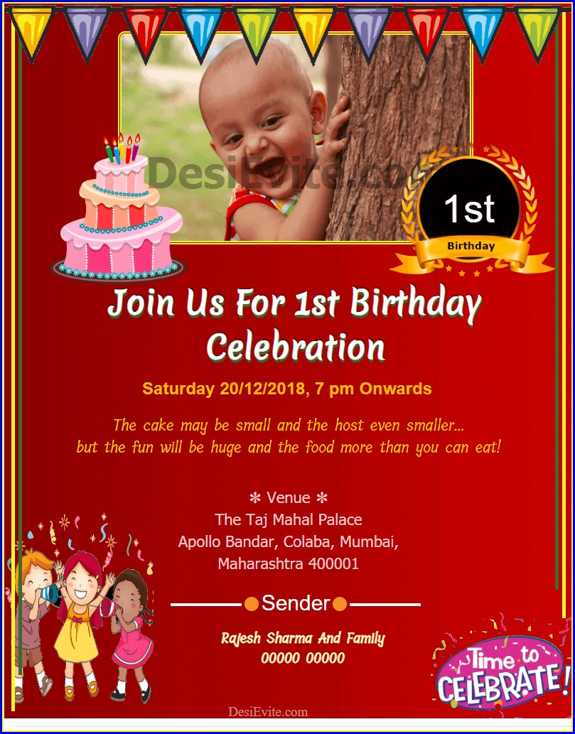 1st Birthday Invitation Card For Baby Girl In Hindi