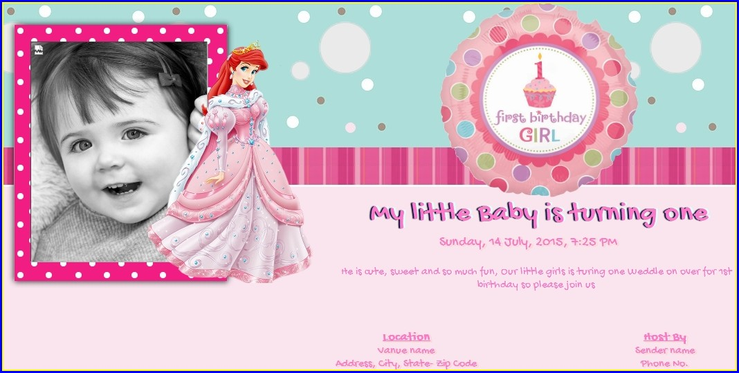 1st Birthday Invitation Card For Baby Girl Online