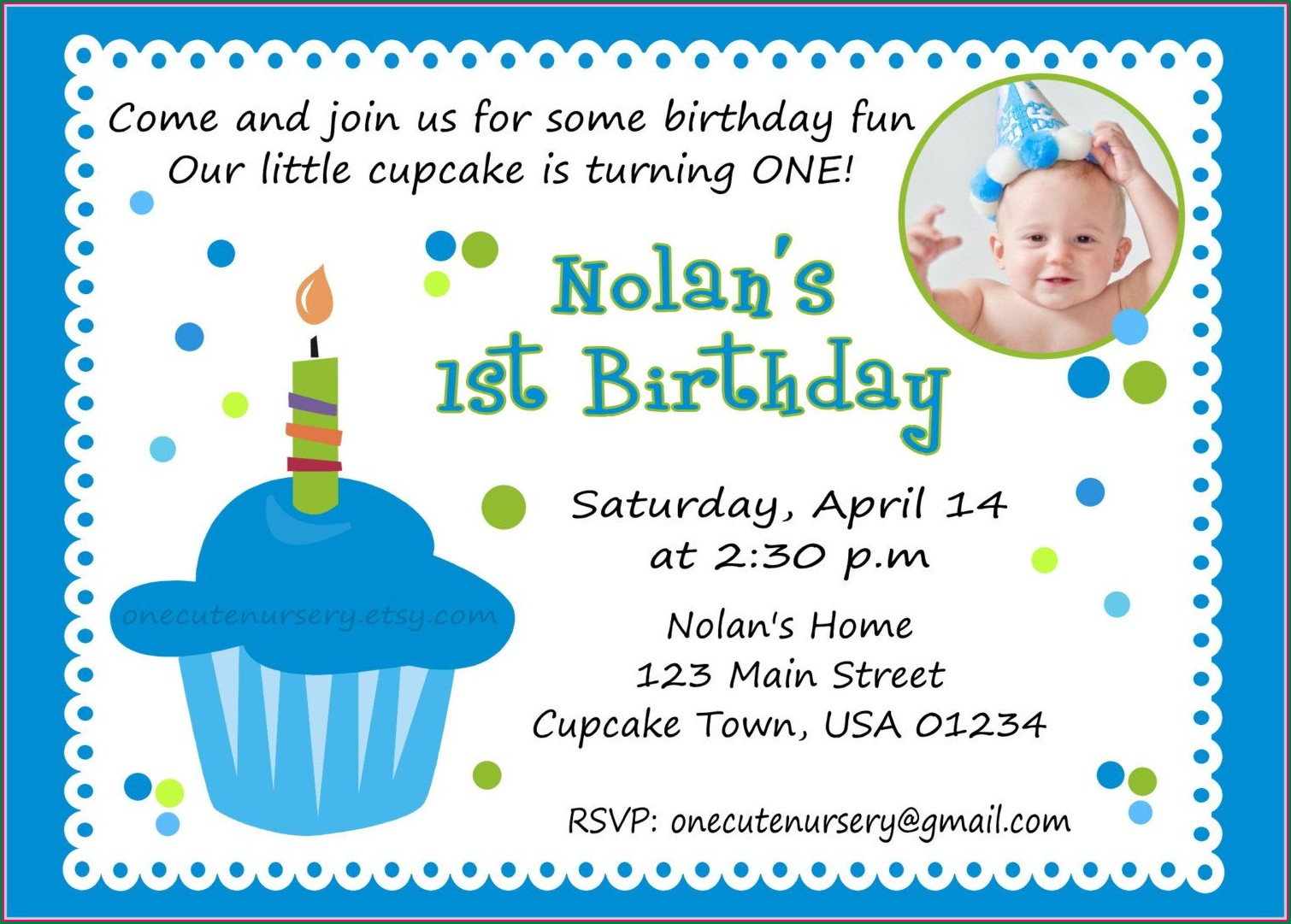 1st Birthday Invitation Message For Boy