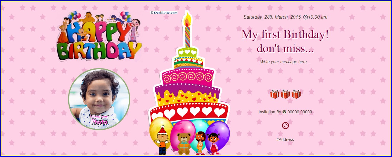 1st Birthday Invitation Message