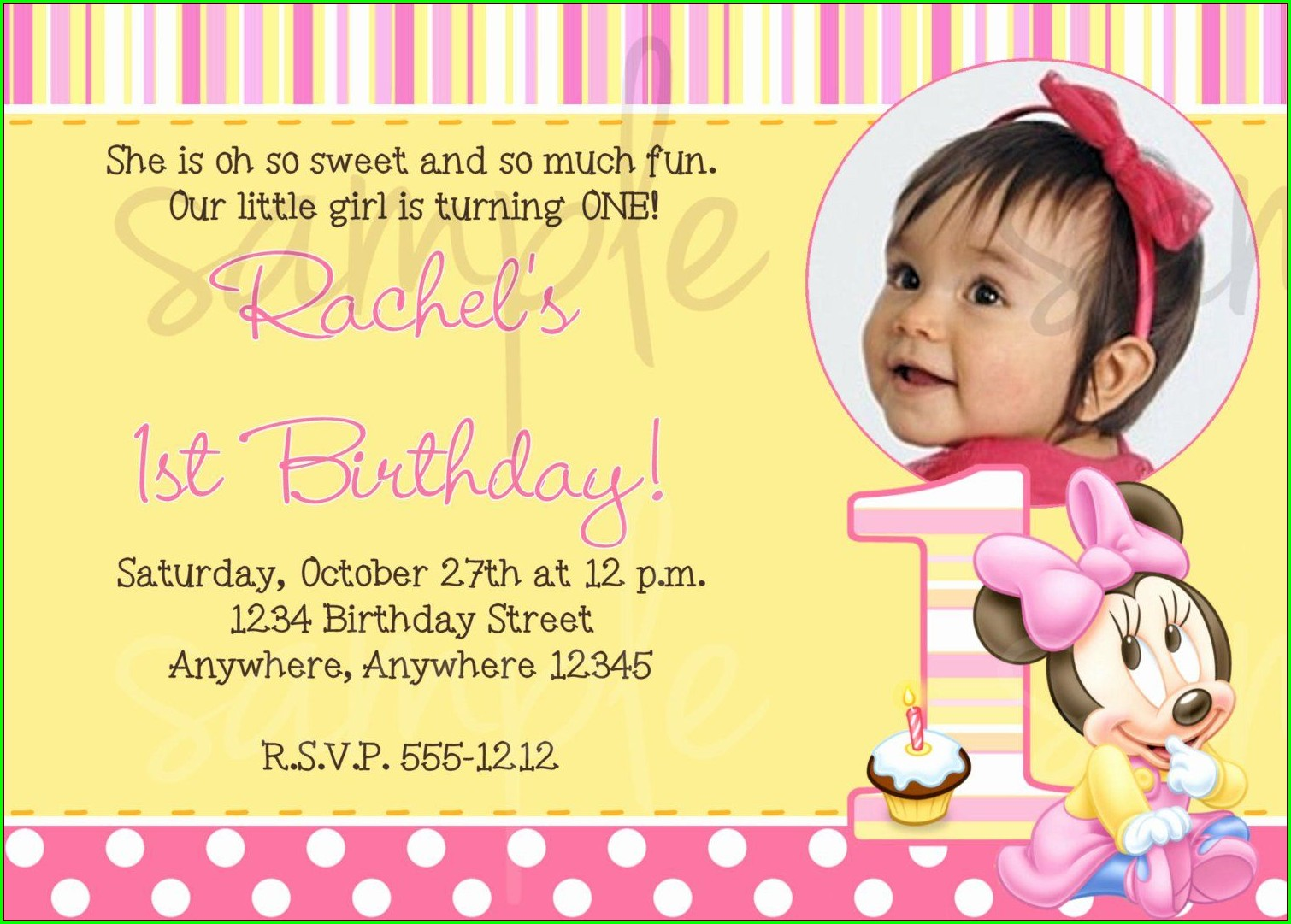 1st Birthday Invitation Wording For Baby Girl