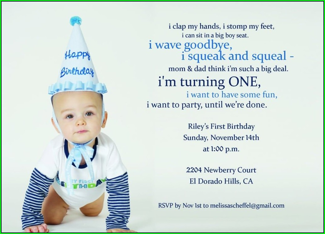 1st Birthday Invitations Boy Message