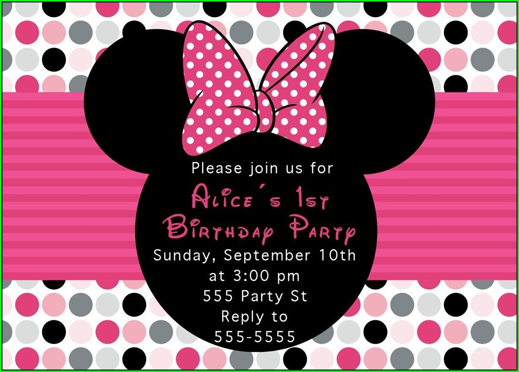 1st Birthday Invitations Girl Minnie Mouse