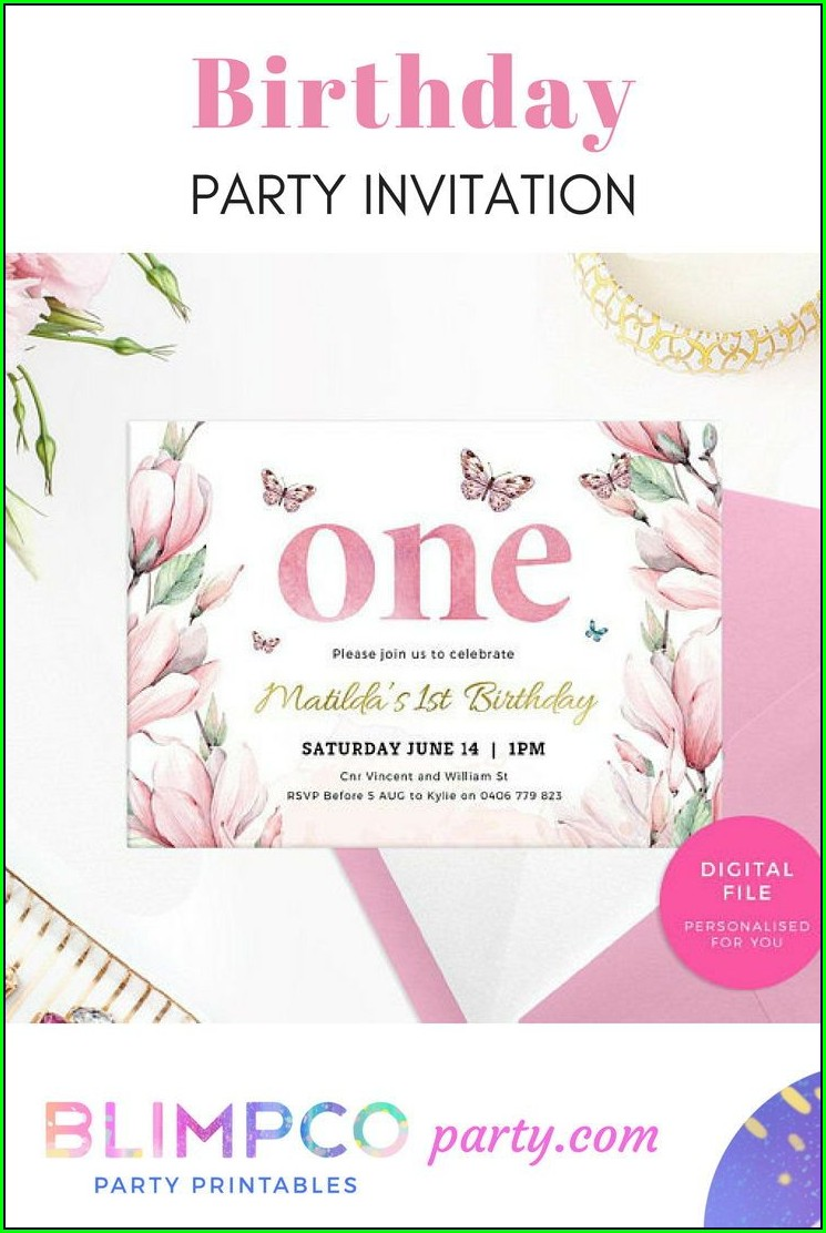 1st Birthday Invitations Girl Pink And Gold