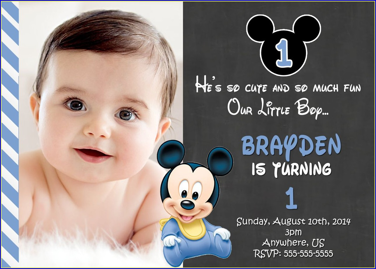 1st Birthday Mickey Mouse Invitation Card