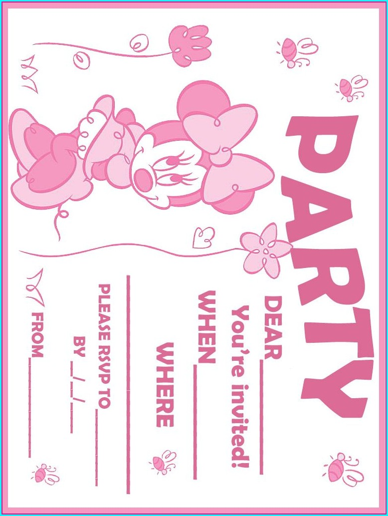 1st Birthday Minnie Mouse Blank Invitations