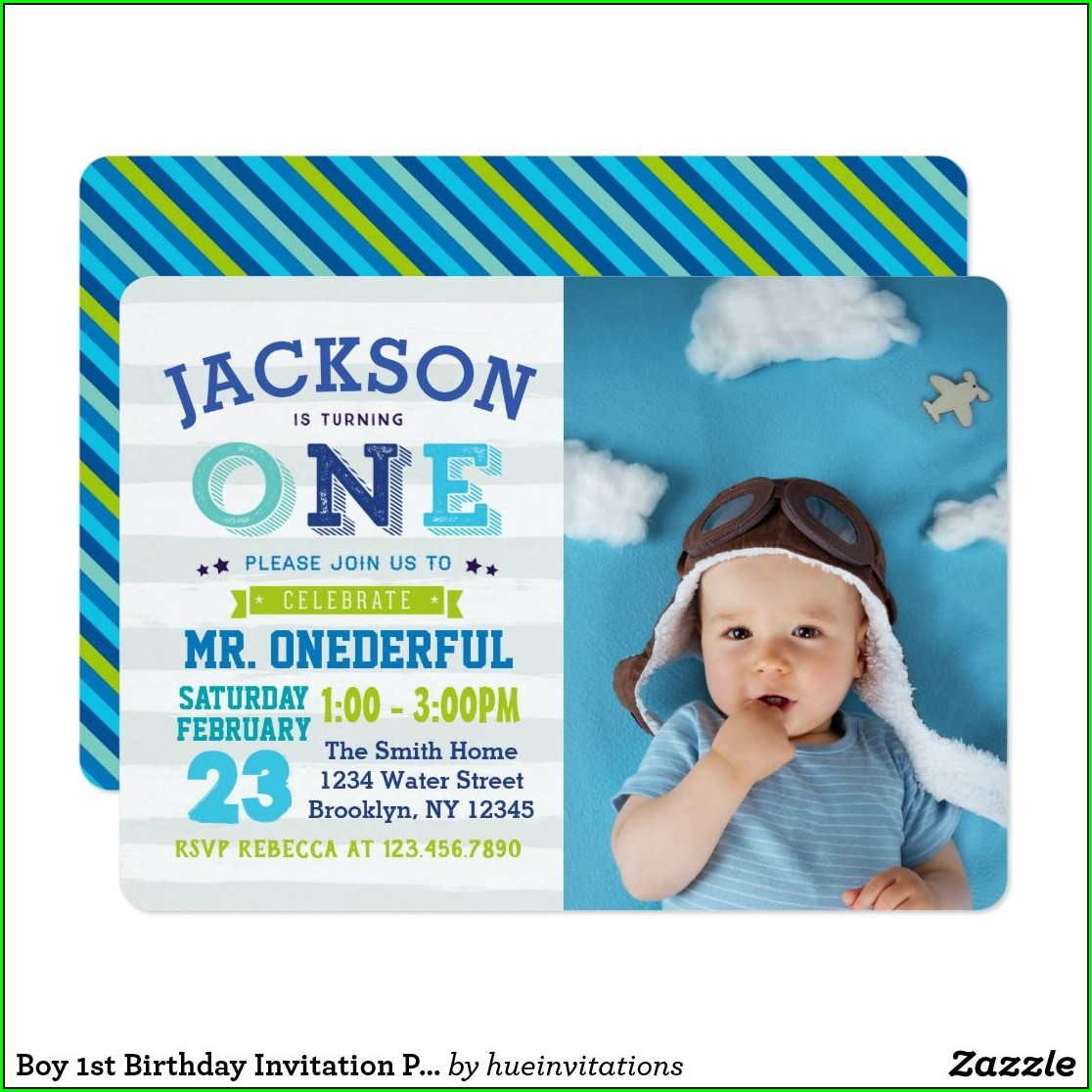 1st Birthday Photo Invitations Boy
