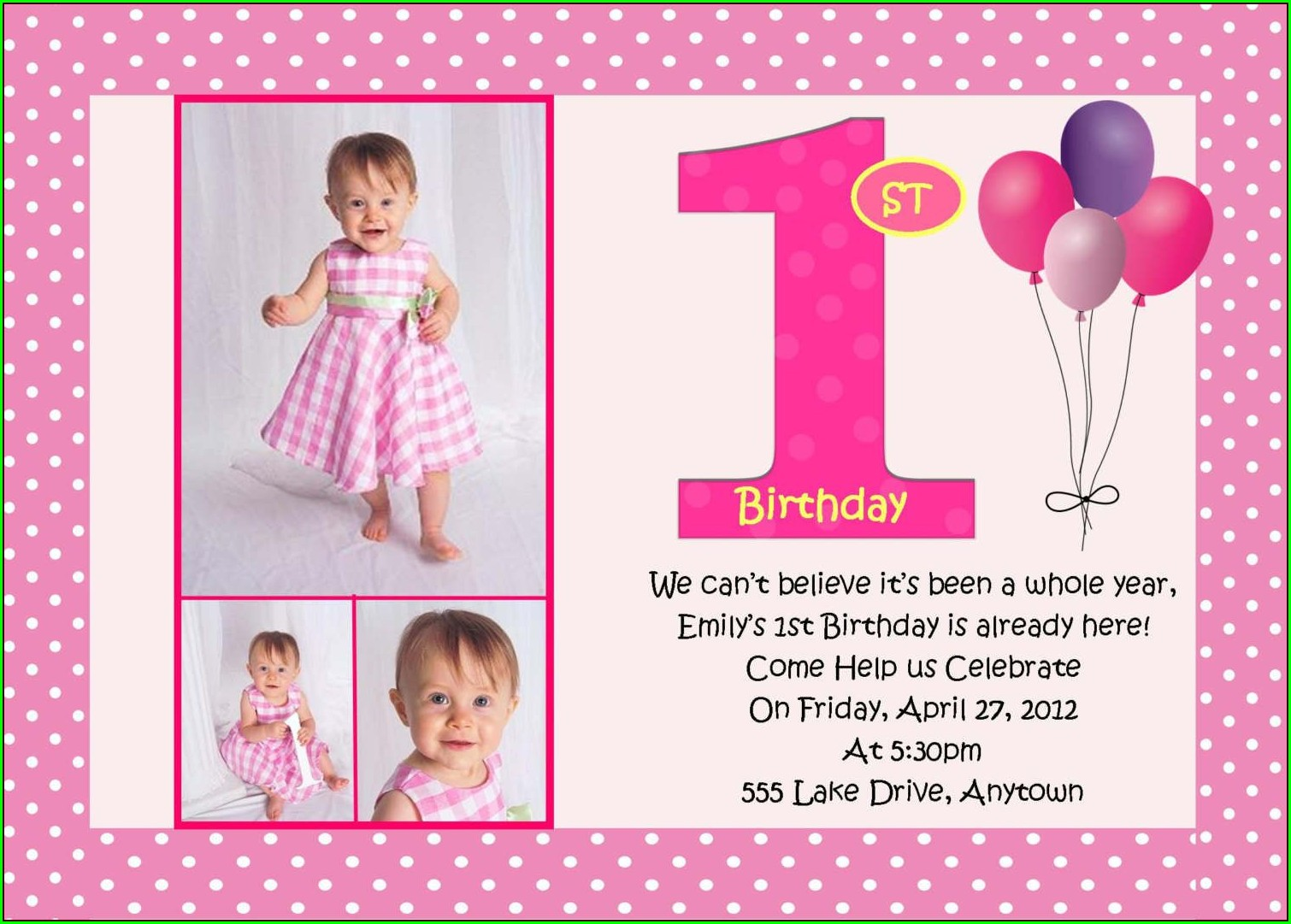 1st Birthday Photo Invitations Girl