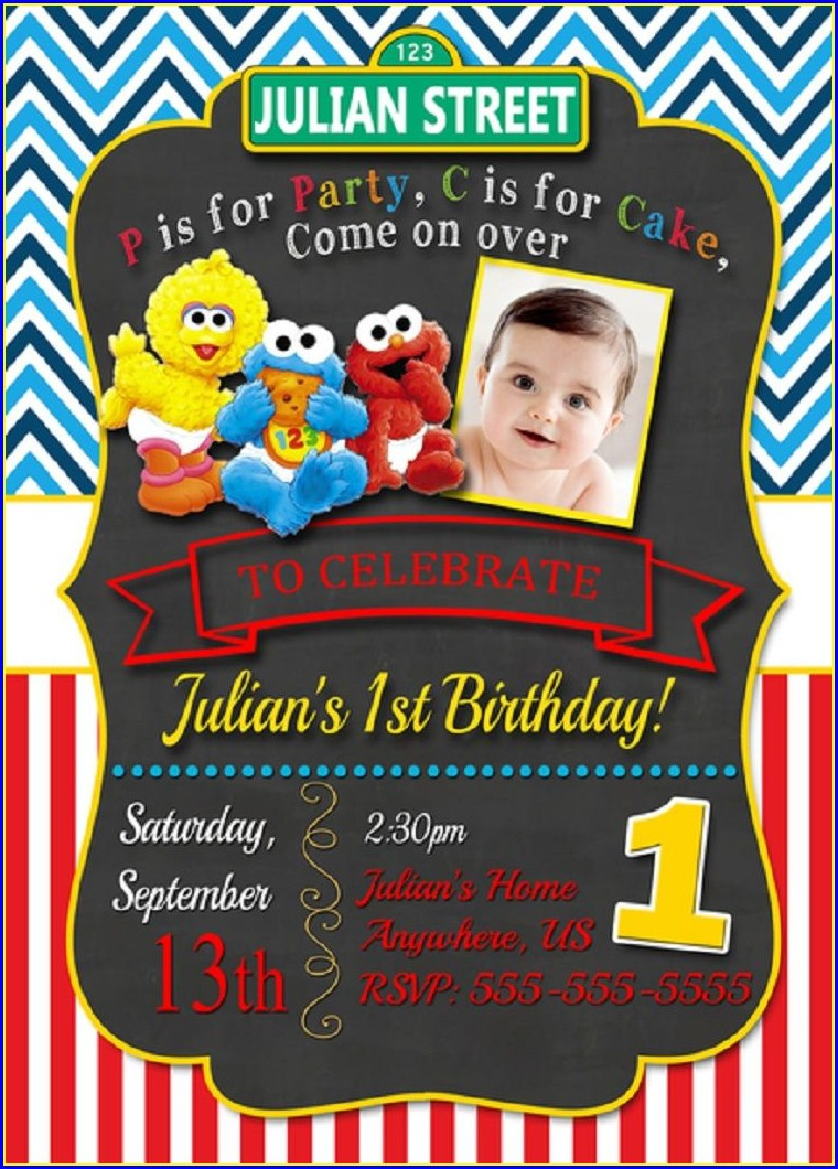 1st Birthday Sesame Street Invitations