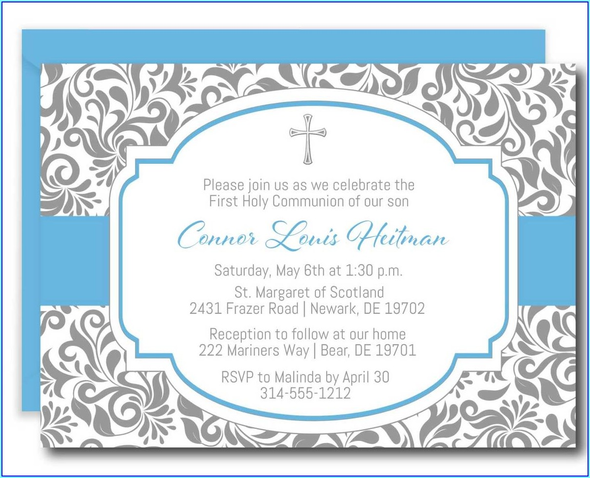 1st Communion Invitations Boy