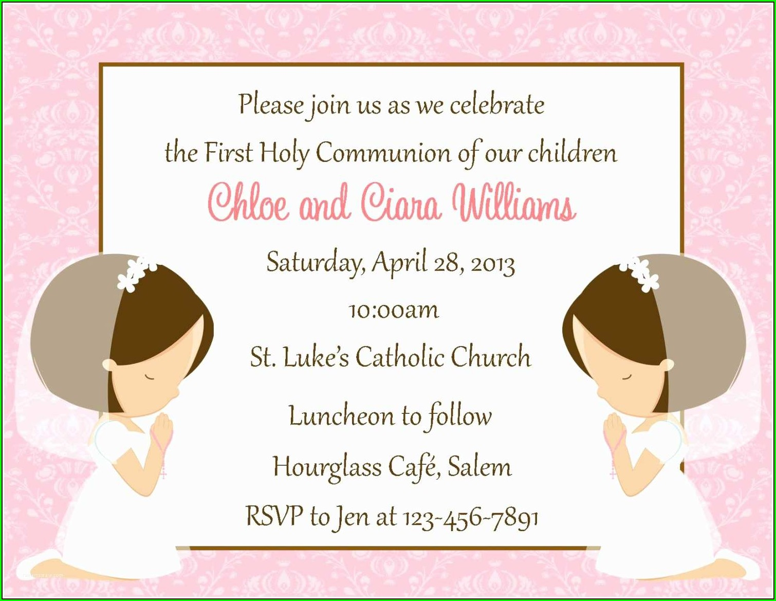 1st Communion Invitations Catholic