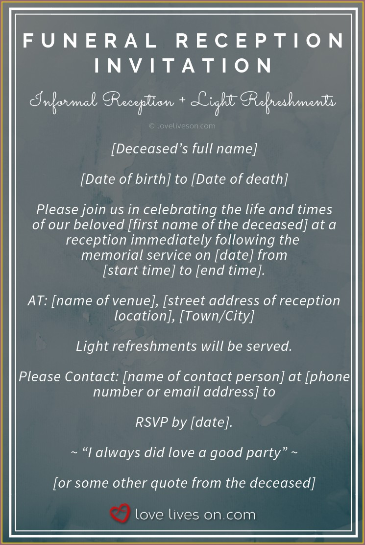 1st Death Anniversary Invitation Card In English