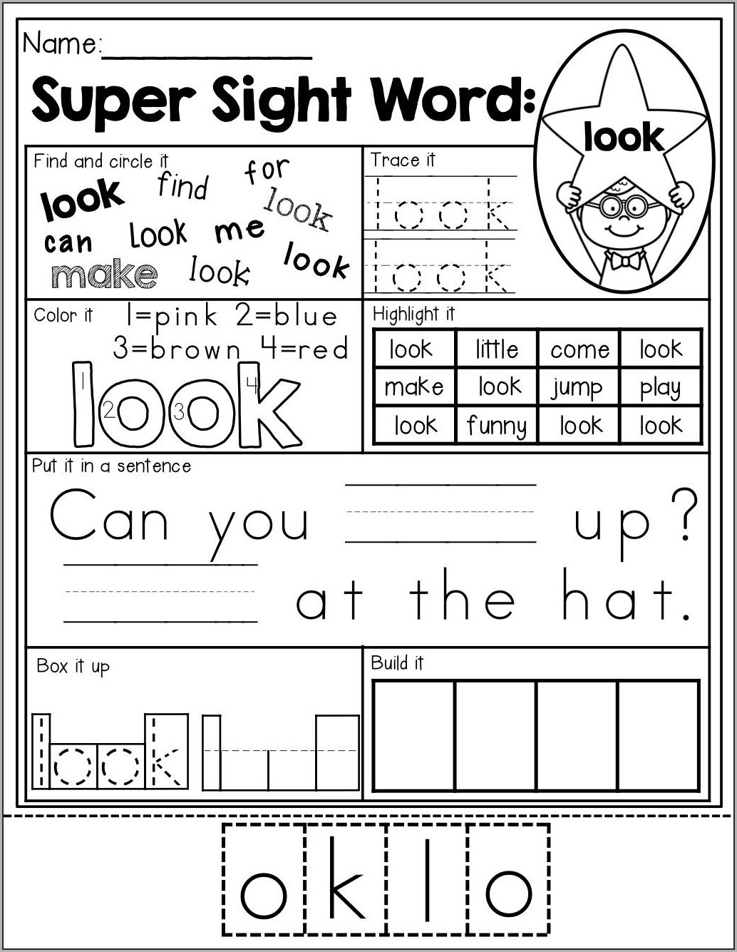 1st Grade Worksheets For Sight Words