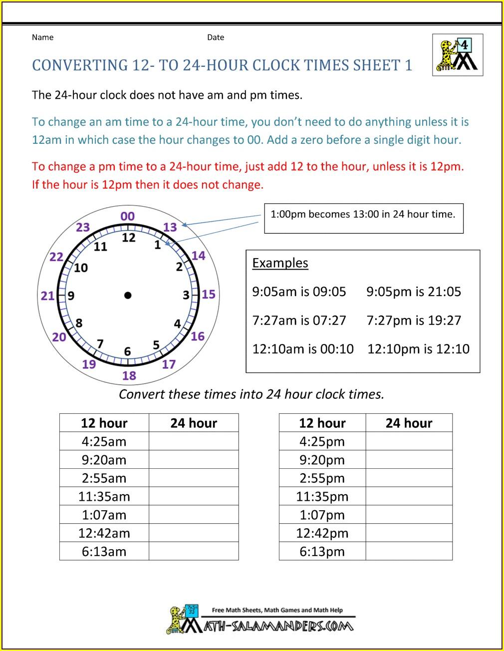 24 Hour Timeline Worksheet