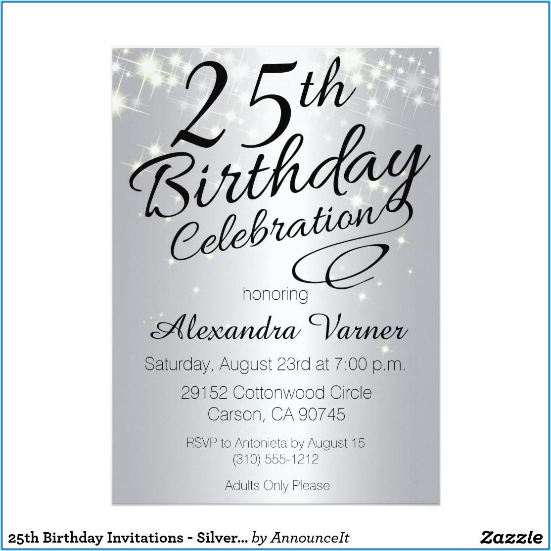 25th Birthday Invitations Online