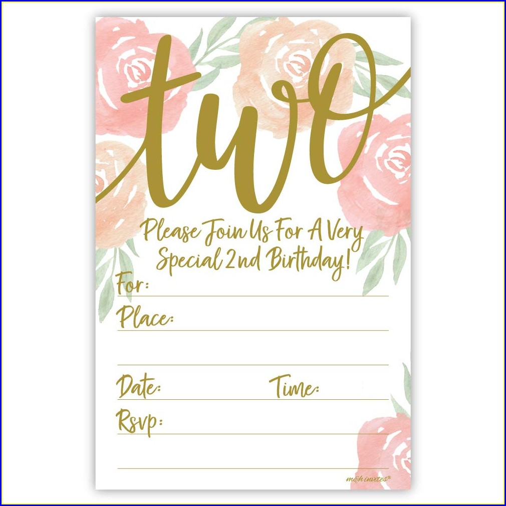 2nd Birthday Invitations Girl