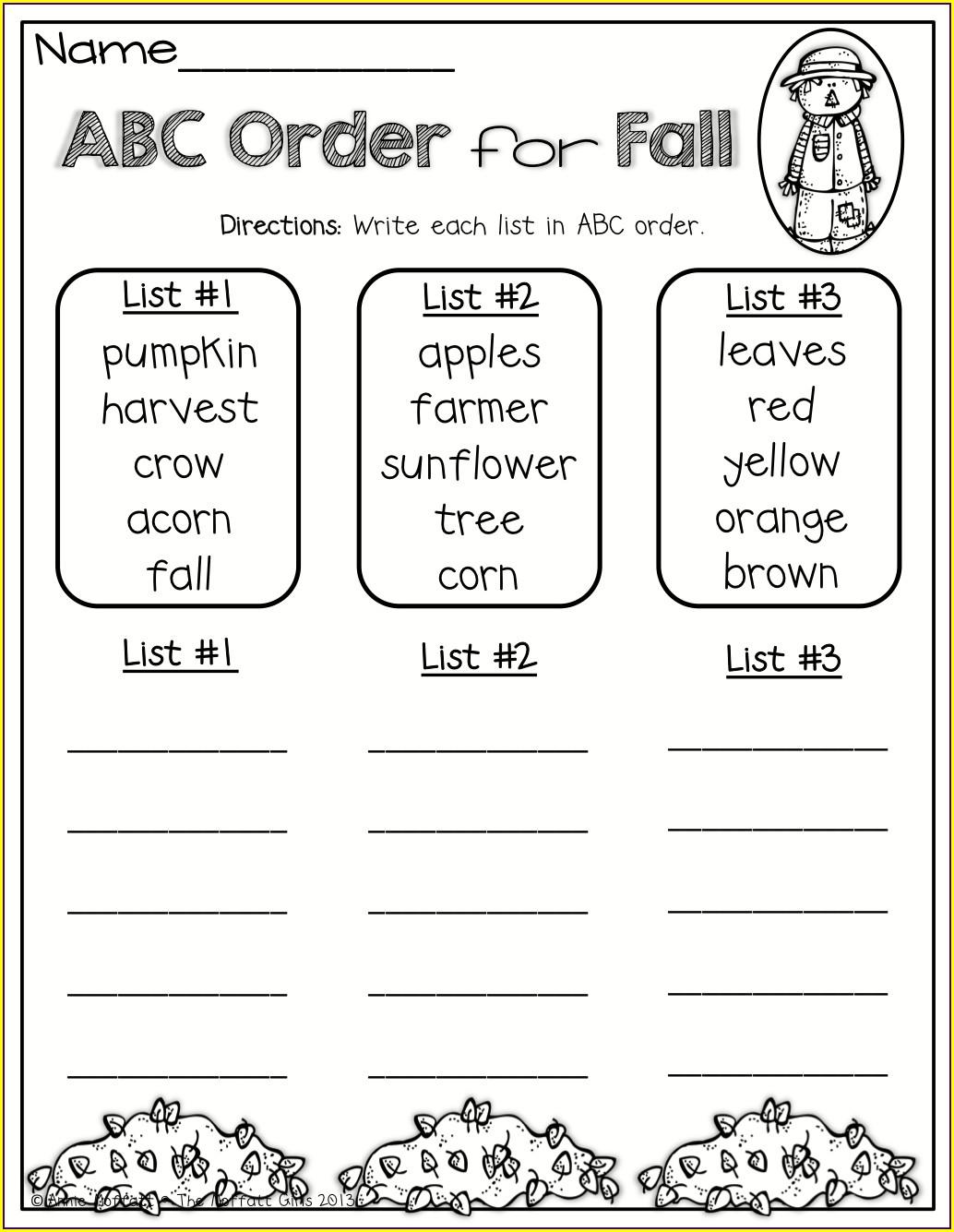 2nd Grade 3rd Grade Alphabetical Order Worksheets