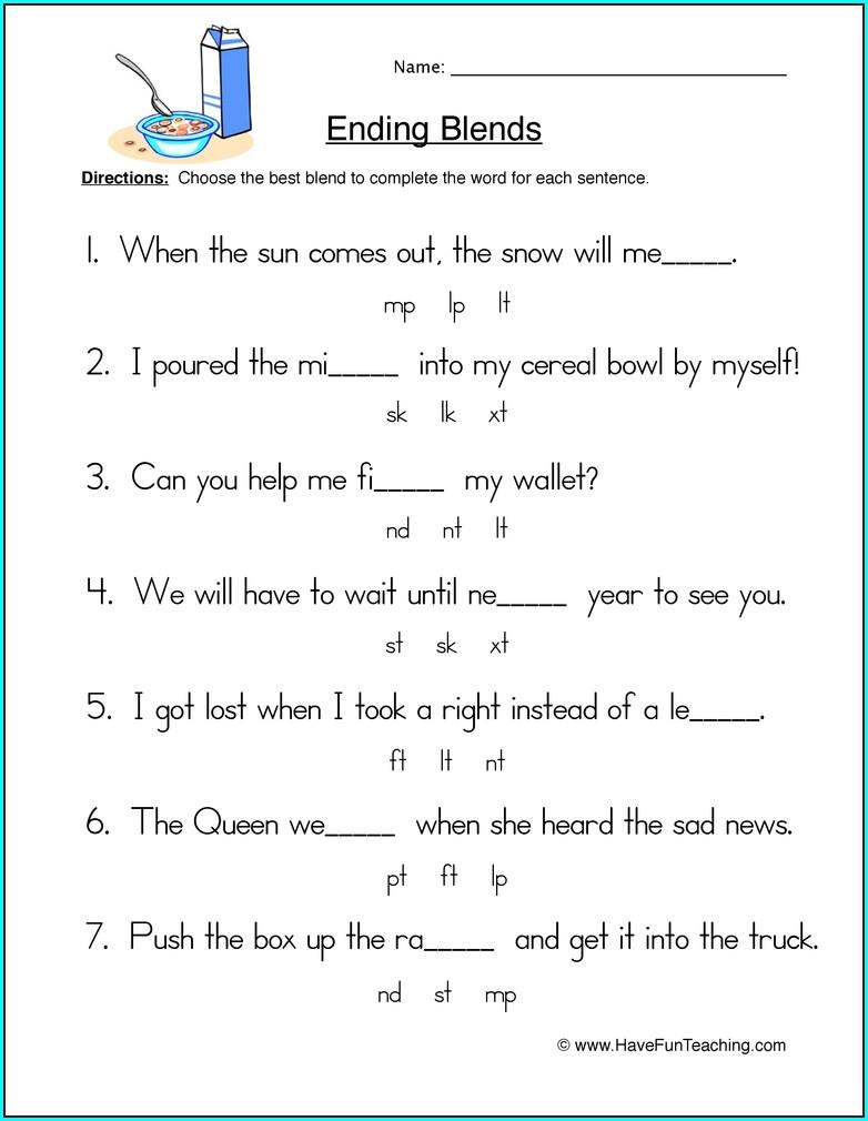 2nd Grade Consonant Blends Worksheets For Grade 2