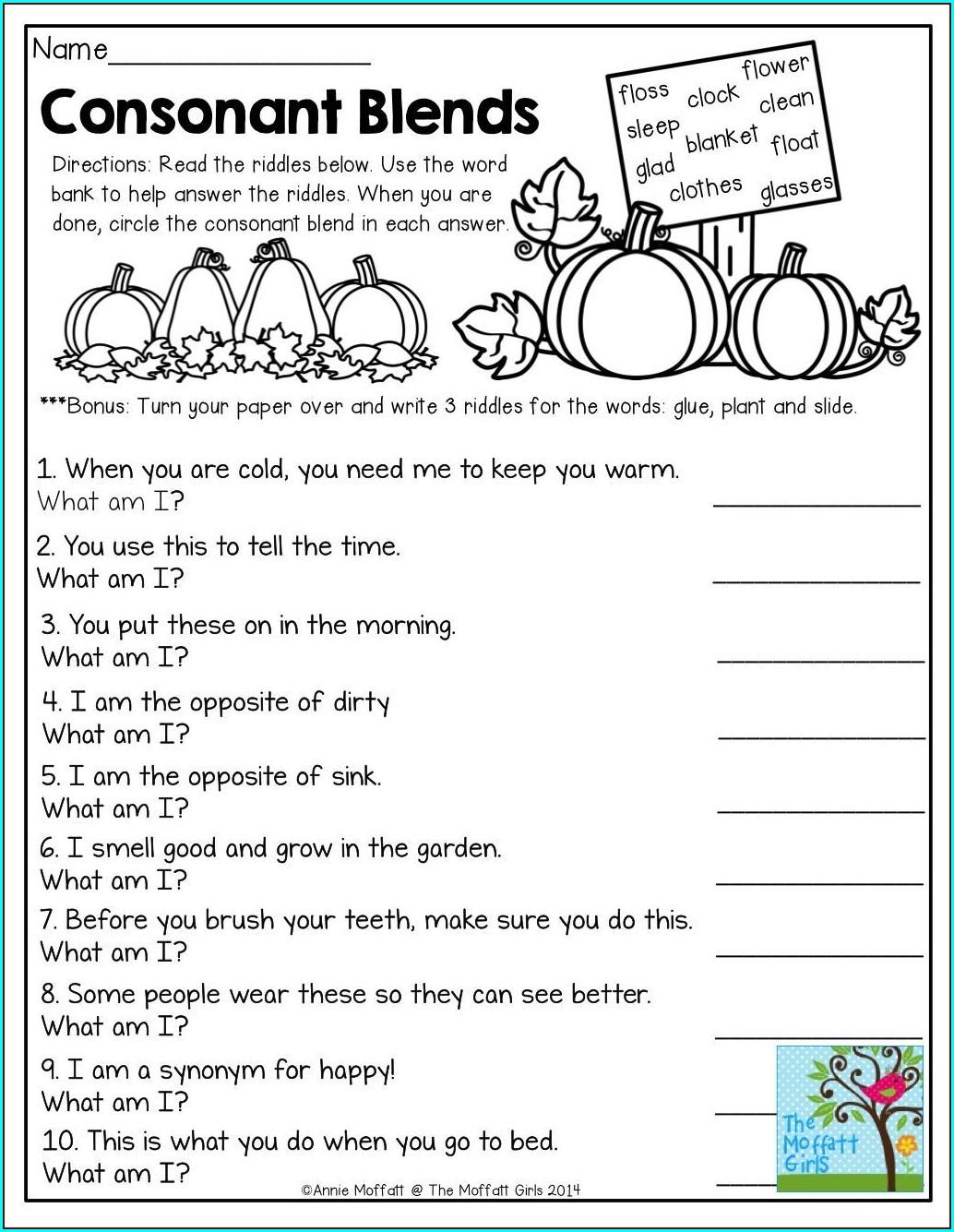 2nd Grade Ending Blends Worksheets