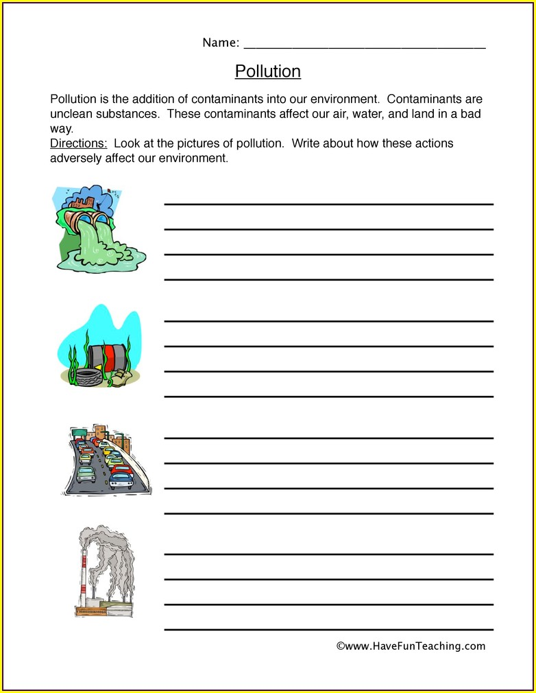 2nd Grade Water Pollution Activity Worksheets