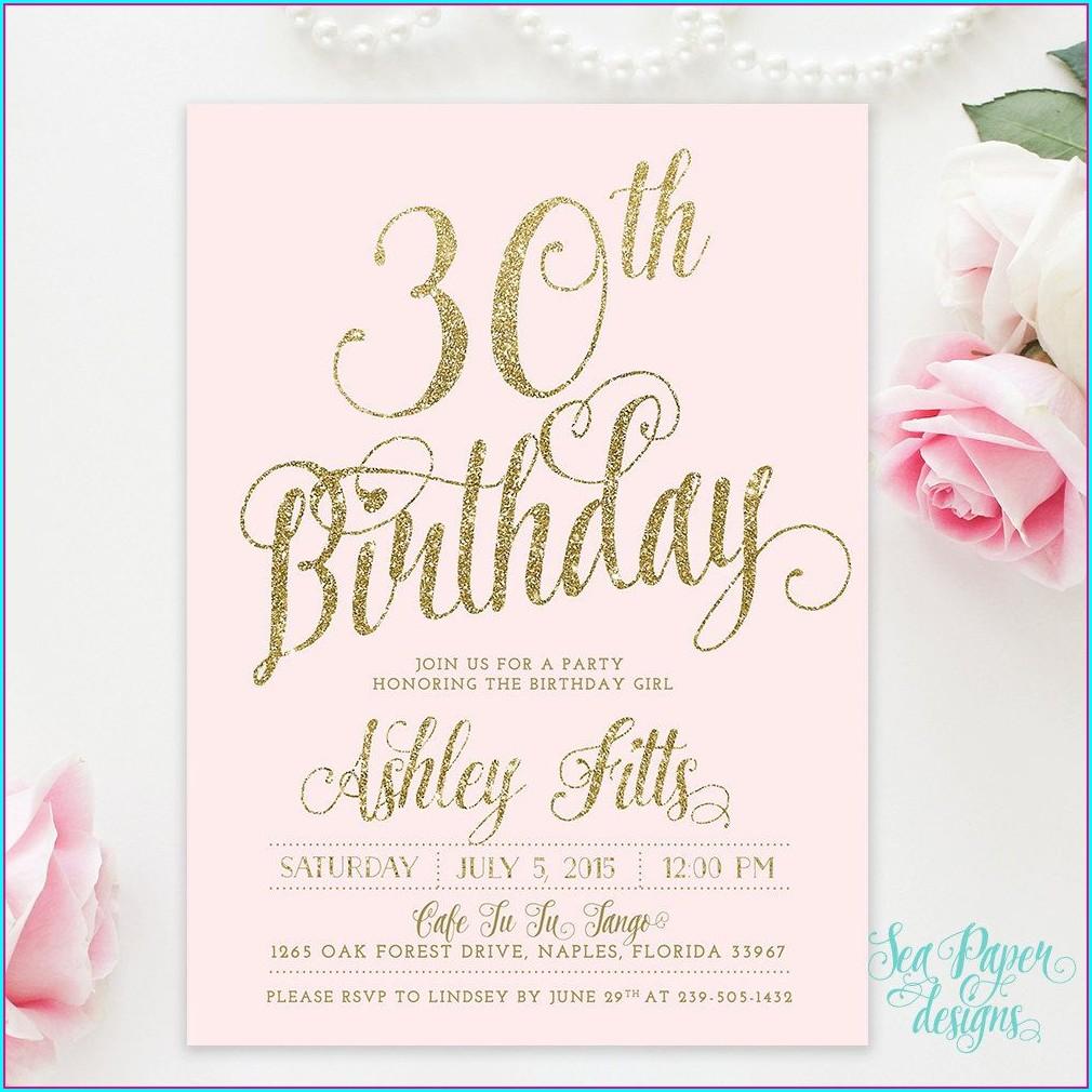 30th Birthday Invitations Rose Gold E Invites