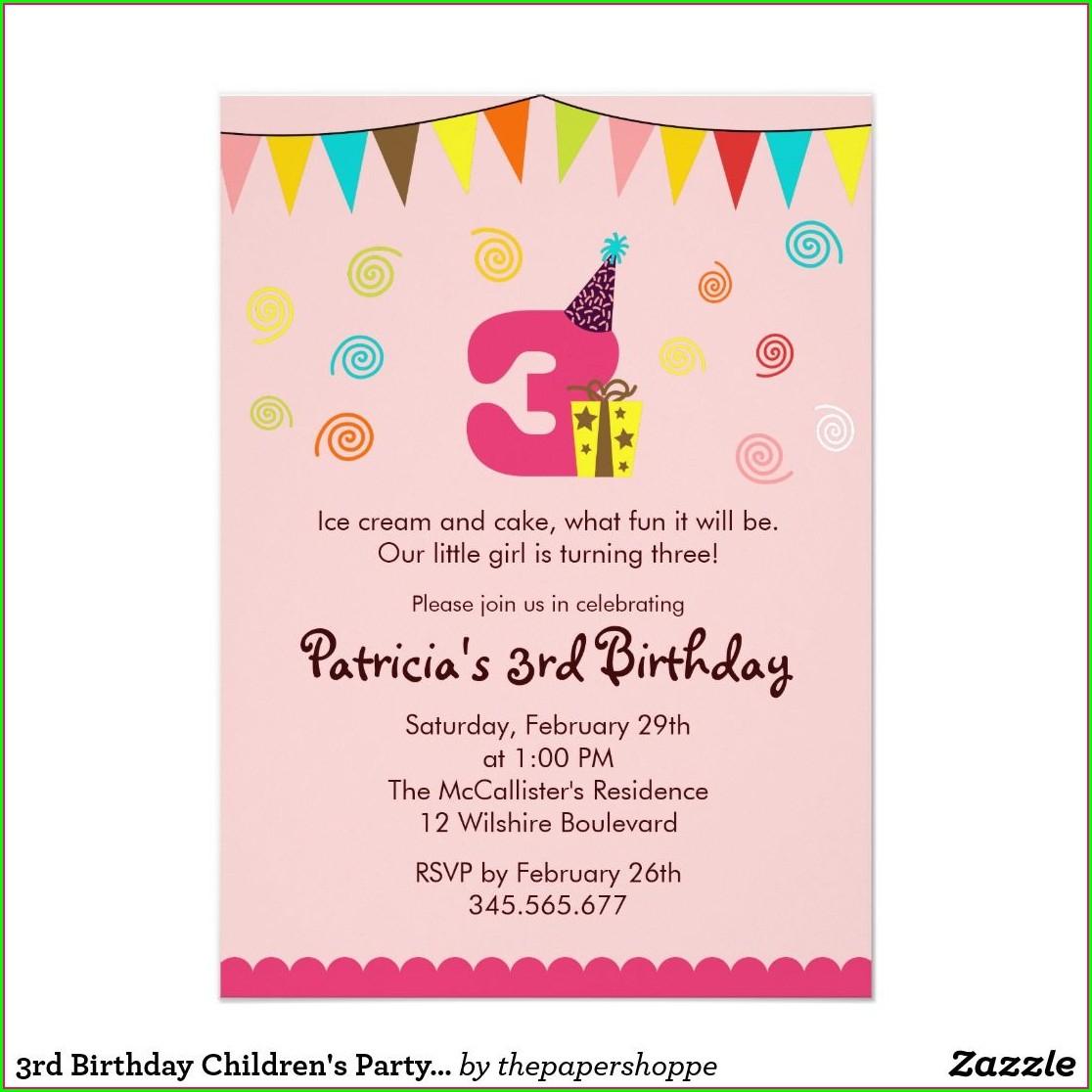 3rd Birthday Invitation Message For Kids