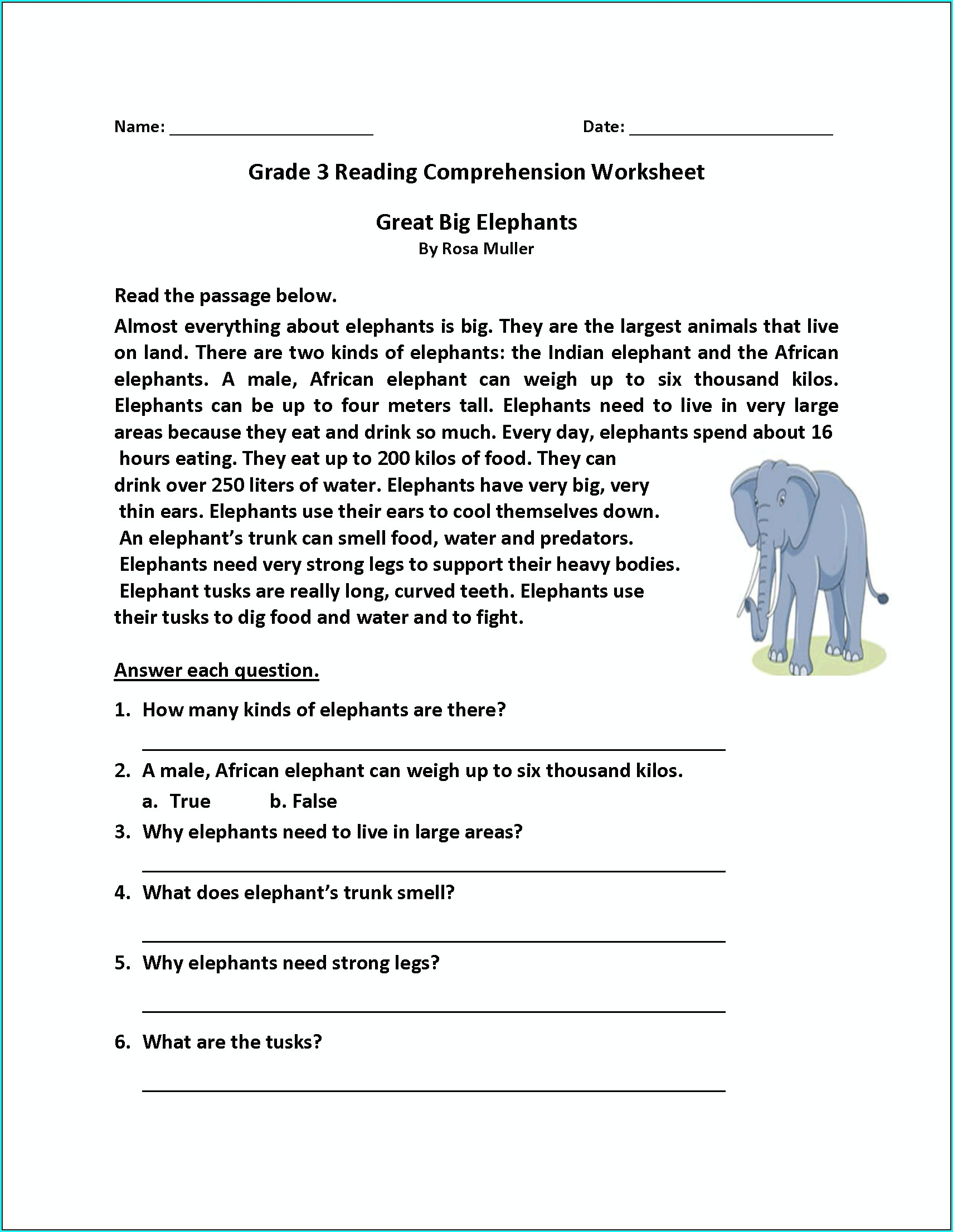 3rd Grade 2nd Grade 3rd Grade Comprehension Worksheets