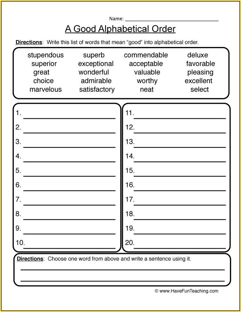 3rd Grade Alphabetical Order Worksheets Grade 3