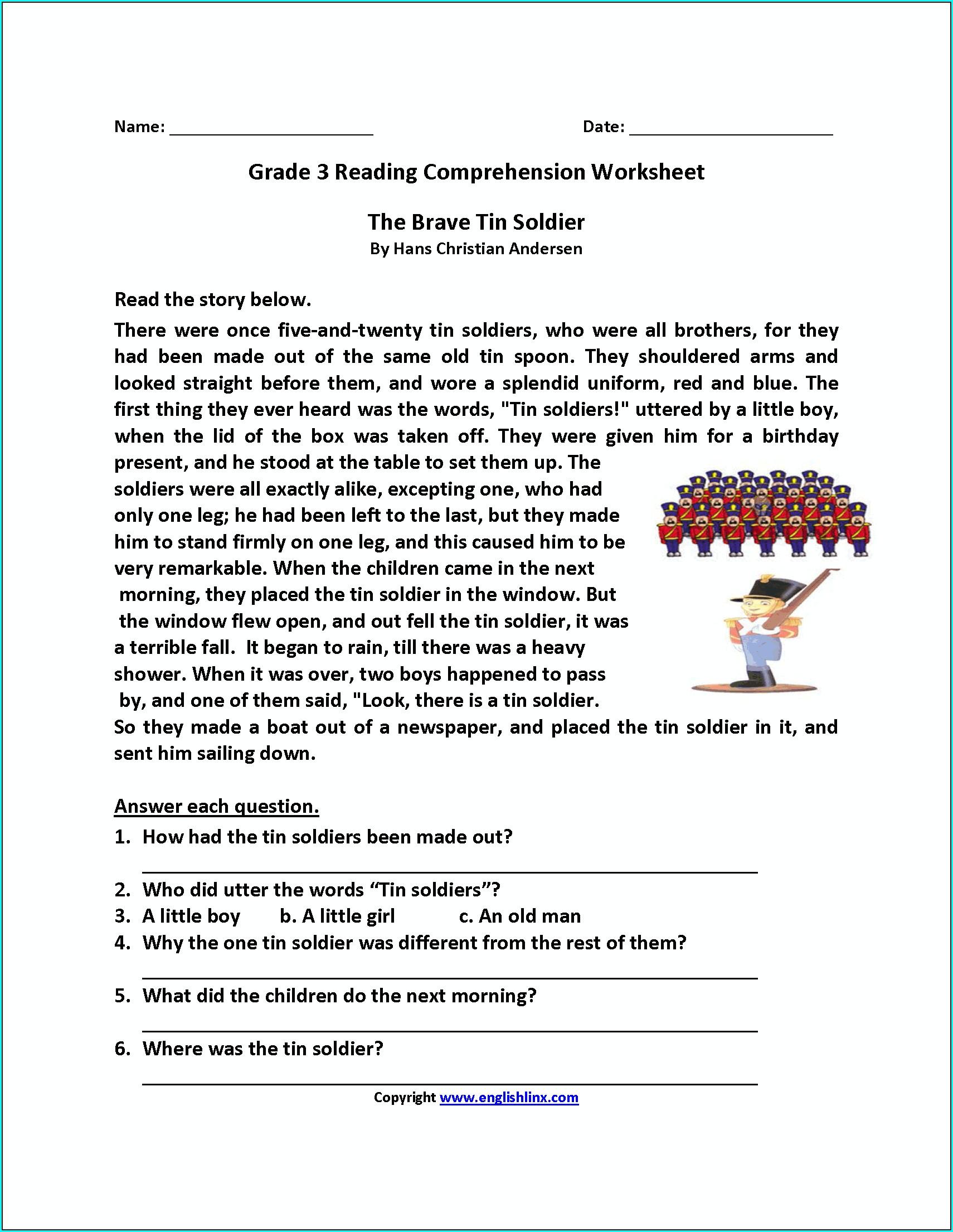 3rd Grade Comprehension Worksheet Grade 3
