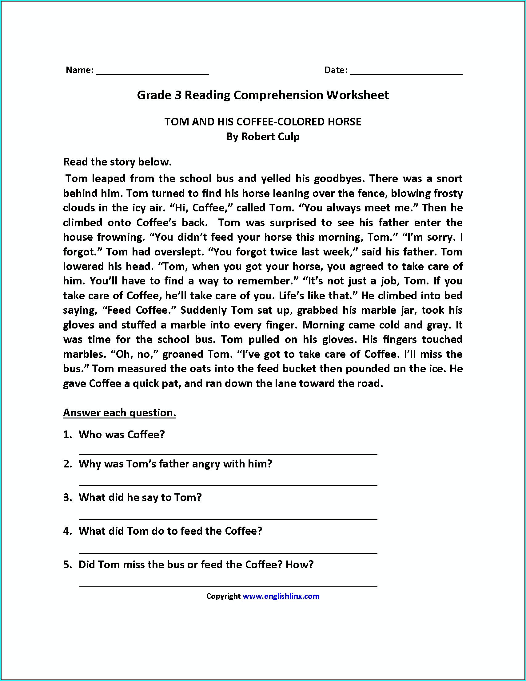 3rd Grade Comprehension Worksheets For Class 3