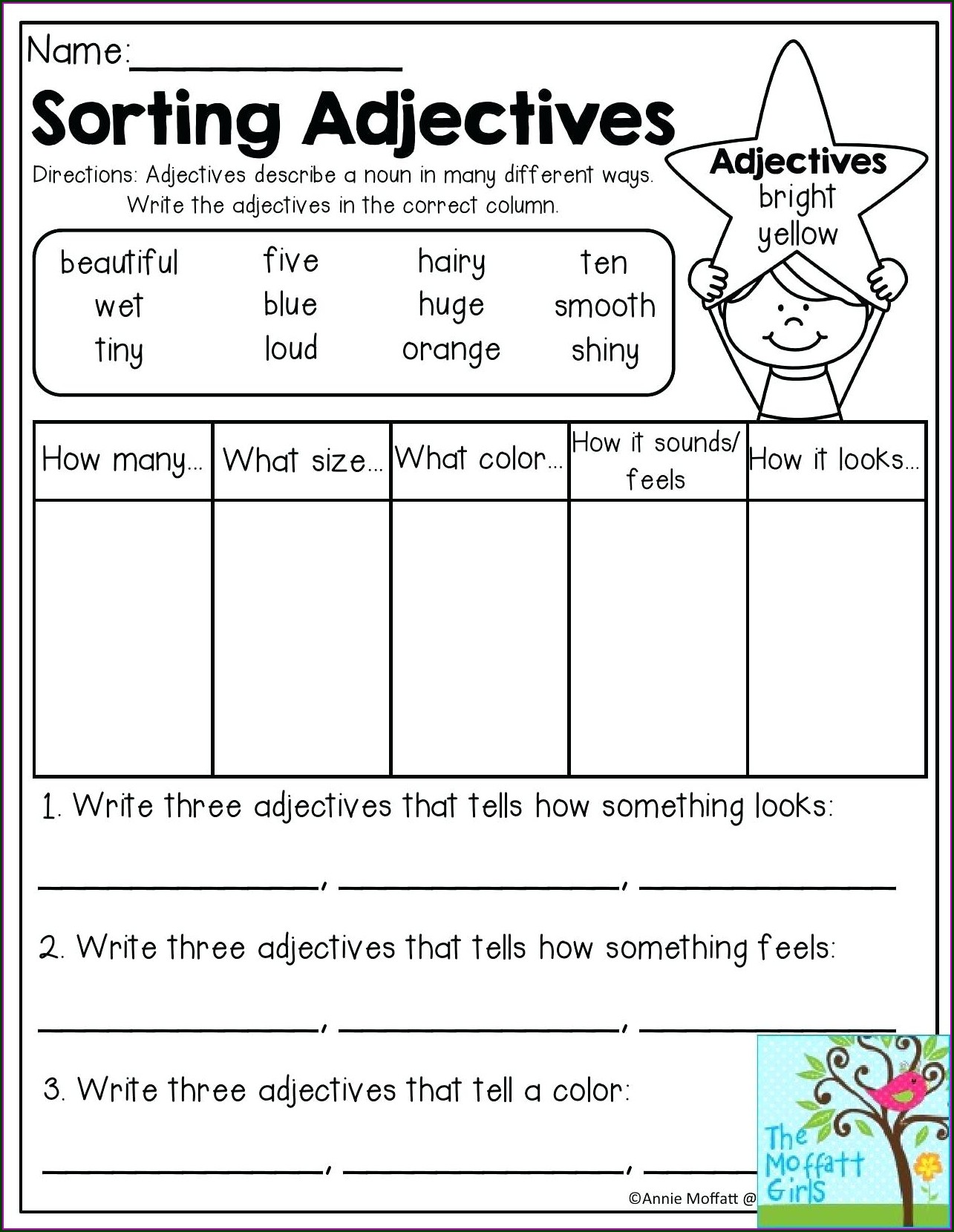 3rd Grade Grade 3 Adjectives Worksheets